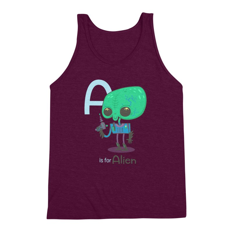 A is for Alien Men's Triblend Tank by Hazy Dell Press