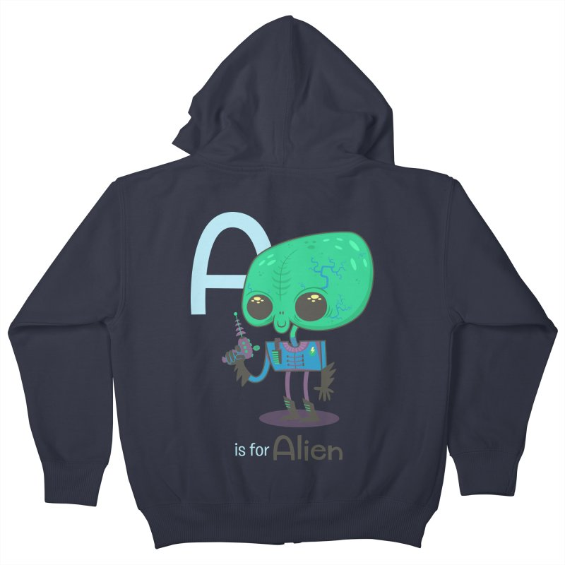A is for Alien Kids Zip-Up Hoody by Hazy Dell Press