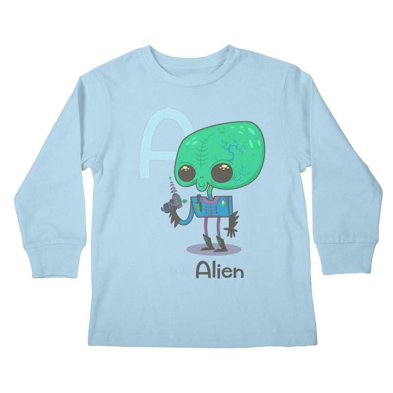 A is for Alien Kids Longsleeve T-Shirt by Hazy Dell Press