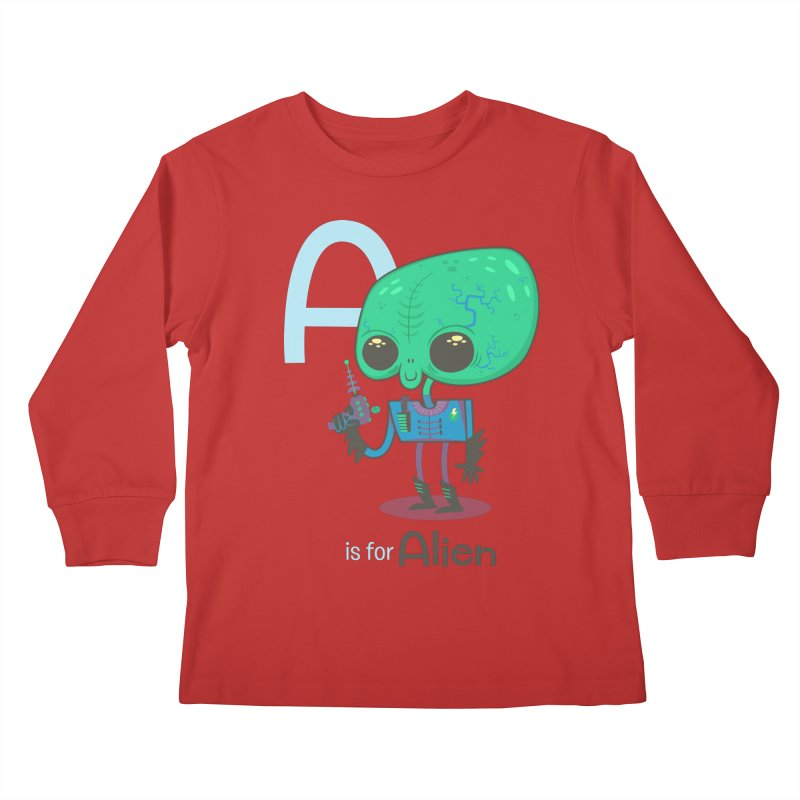 A is for Alien Kids Longsleeve T-Shirt by Hazy Dell Press