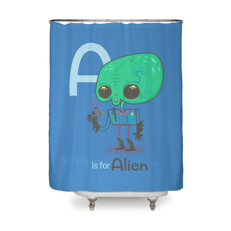 A is for Alien Home Shower Curtain by Hazy Dell Press