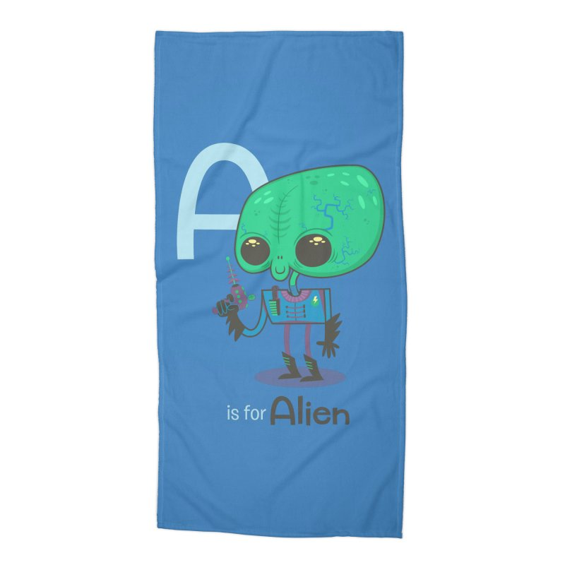A is for Alien Accessories Beach Towel by Hazy Dell Press