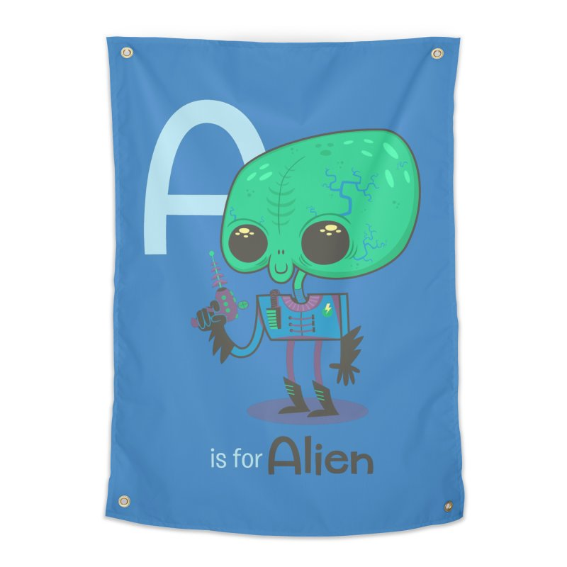 A is for Alien Home Tapestry by Hazy Dell Press