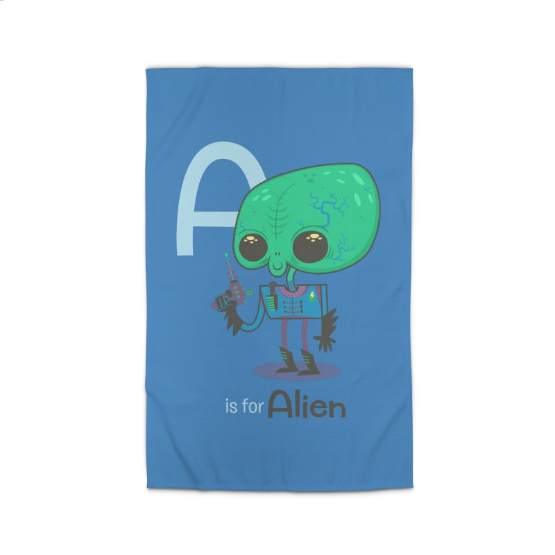 A is for Alien Home Rug by Hazy Dell Press