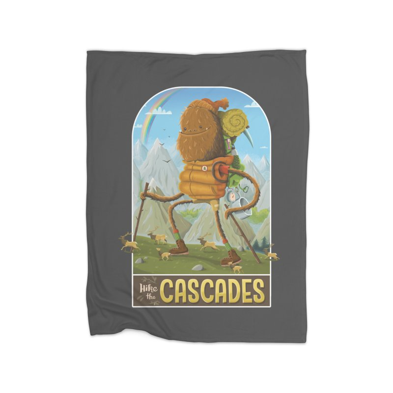 Hike the Cascades Home Fleece Blanket Blanket by Hazy Dell Press