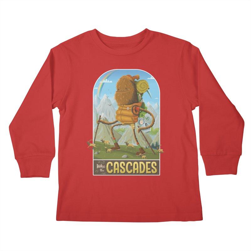 Hike the Cascades Kids Longsleeve T-Shirt by Hazy Dell Press