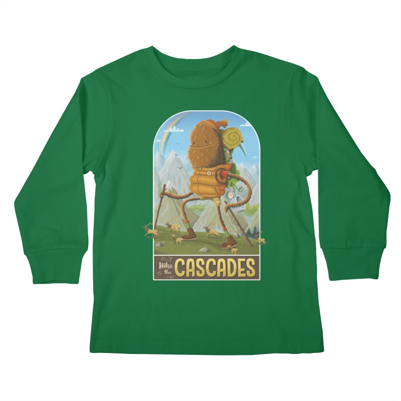 Hike the Cascades Kids Longsleeve T-Shirt by Hazy Dell Press