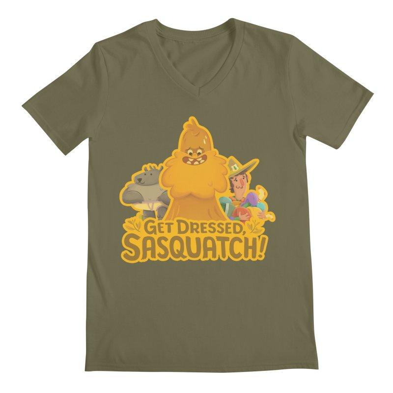 Get Dressed, Sasquatch! Men's Regular V-Neck by Hazy Dell Press