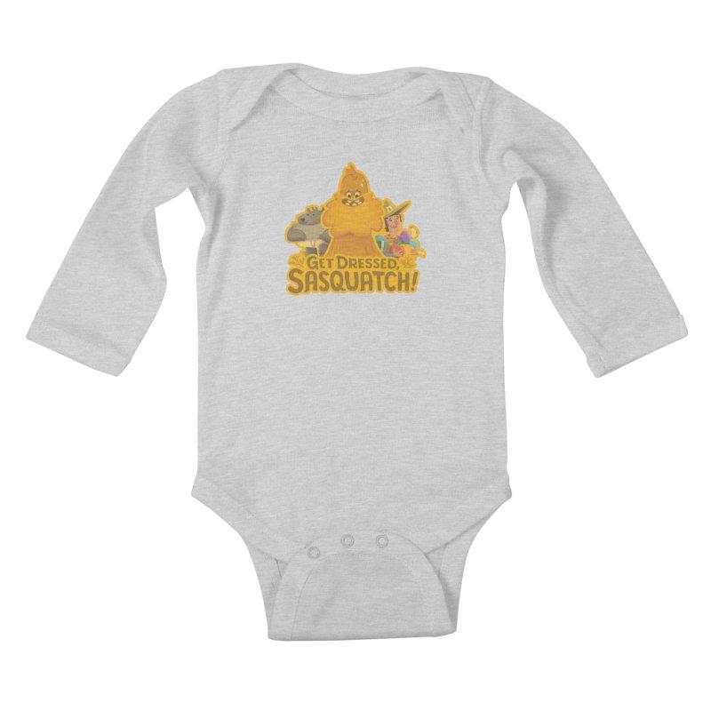 Get Dressed, Sasquatch! Kids Baby Longsleeve Bodysuit by Hazy Dell Press