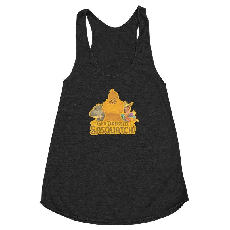 Get Dressed, Sasquatch! Women's Racerback Triblend Tank by Hazy Dell Press