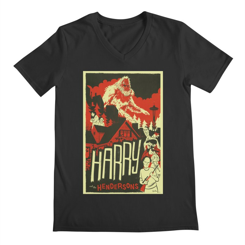 Harry and the Hendersons Men's V-Neck by Hazy Dell Press