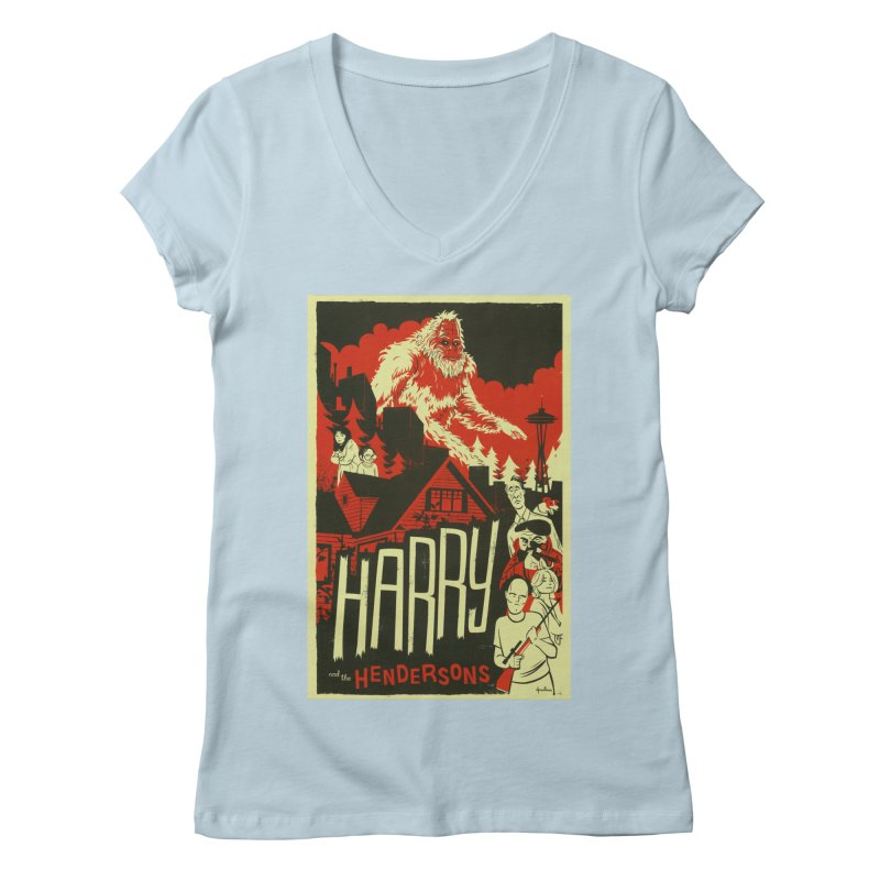 Harry and the Hendersons Women's Regular V-Neck by Hazy Dell Press