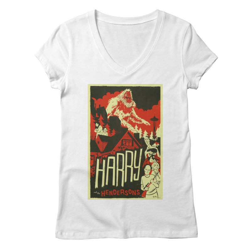 Harry and the Hendersons Women's V-Neck by Hazy Dell Press