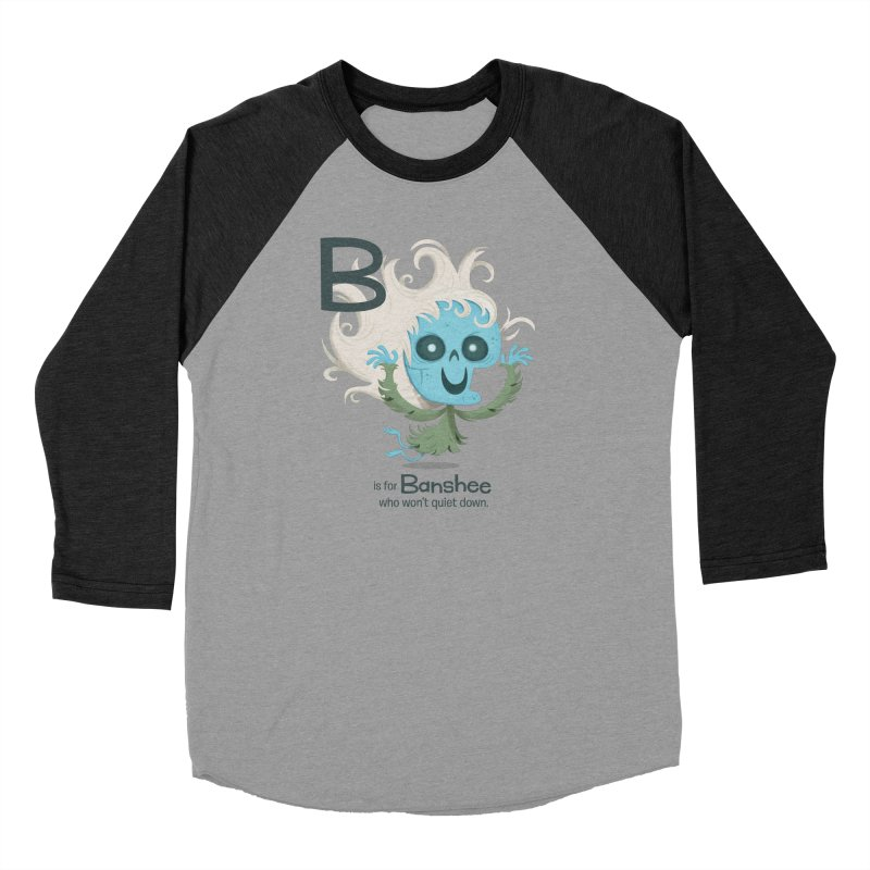 B is for Banshee Men's Baseball Triblend Longsleeve T-Shirt by Hazy Dell Press