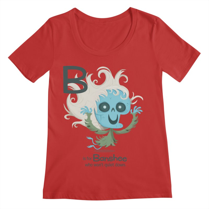 B is for Banshee Women's Regular Scoop Neck by Hazy Dell Press