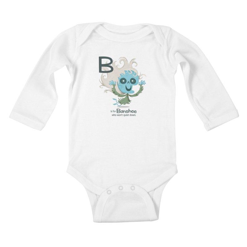 B is for Banshee Kids Baby Longsleeve Bodysuit by Hazy Dell Press