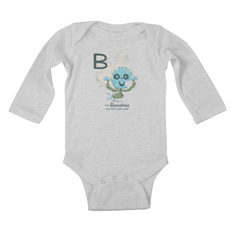 B is for Banshee Kids Baby Longsleeve Bodysuit by Hazy Dell Press