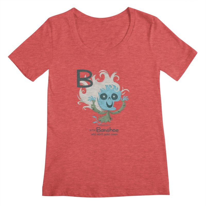 B is for Banshee Women's Scoopneck by Hazy Dell Press