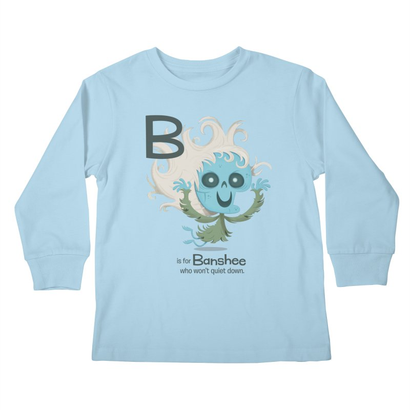 B is for Banshee Kids Longsleeve T-Shirt by Hazy Dell Press