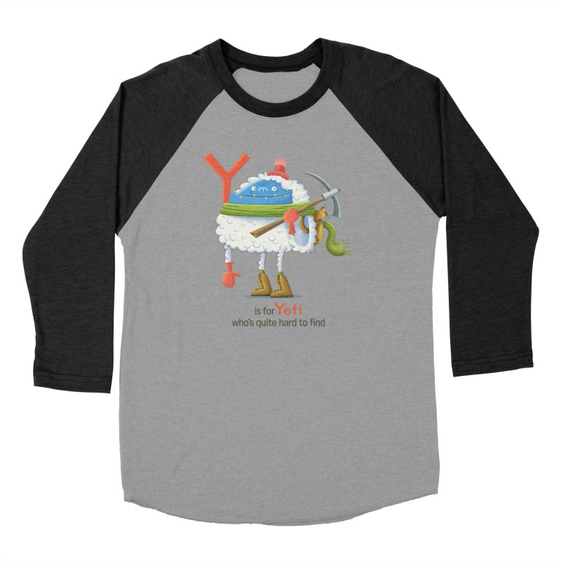 Y is for Yeti Men's Baseball Triblend Longsleeve T-Shirt by Hazy Dell Press