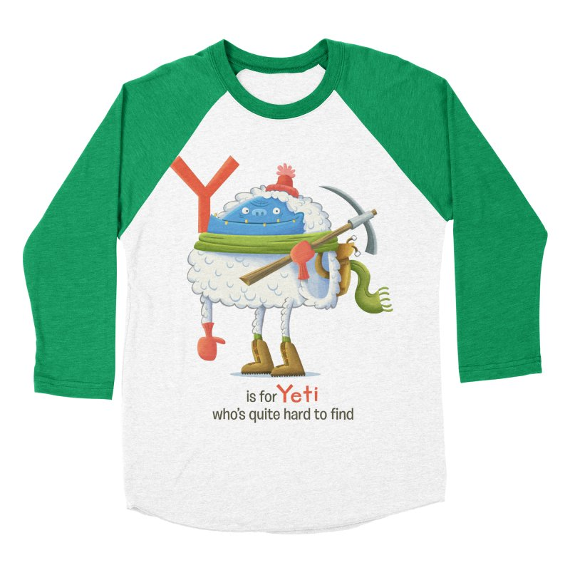 Y is for Yeti Women's Baseball Triblend Longsleeve T-Shirt by Hazy Dell Press
