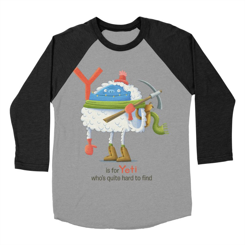 Y is for Yeti Women's Baseball Triblend Longsleeve T-Shirt by Hazy Dell Press