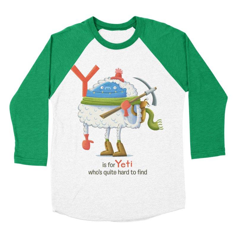 Y is for Yeti Men's Baseball Triblend Longsleeve T-Shirt by Hazy Dell Press