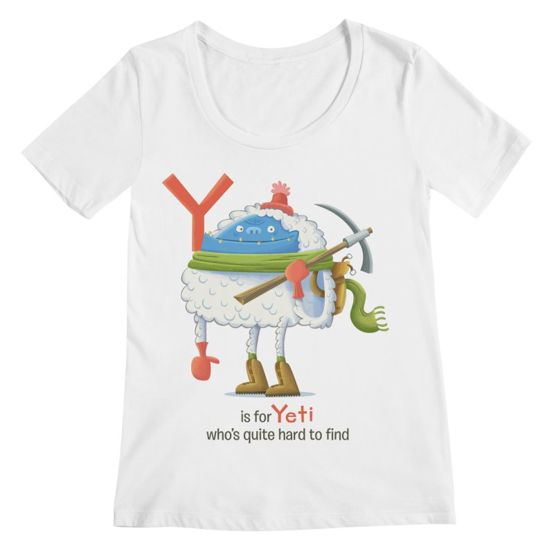 Y is for Yeti Women's Regular Scoop Neck by Hazy Dell Press