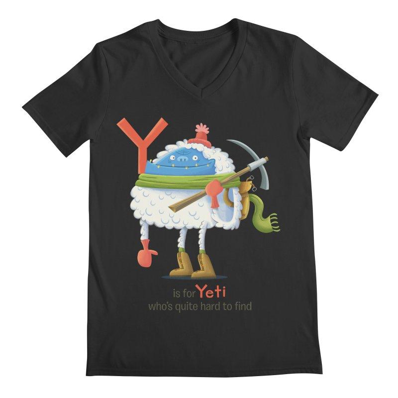 Y is for Yeti Men's Regular V-Neck by Hazy Dell Press