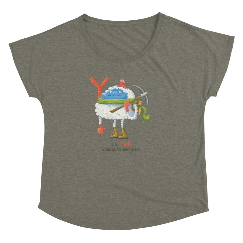 Y is for Yeti Women's Dolman Scoop Neck by Hazy Dell Press