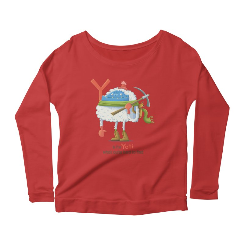 Y is for Yeti Women's Scoop Neck Longsleeve T-Shirt by Hazy Dell Press