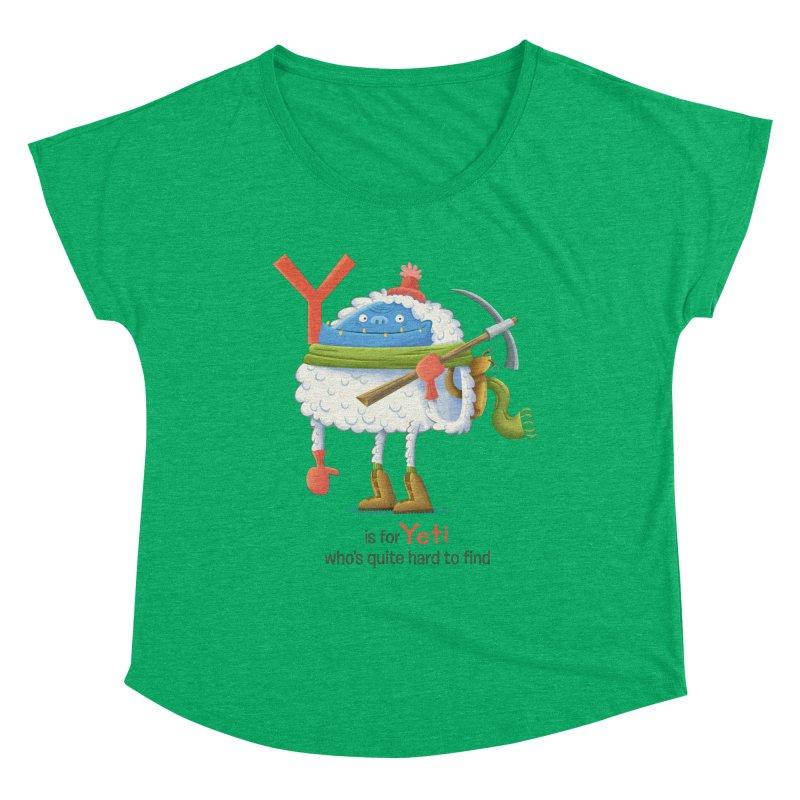 Y is for Yeti Women's Dolman Scoop Neck by Hazy Dell Press