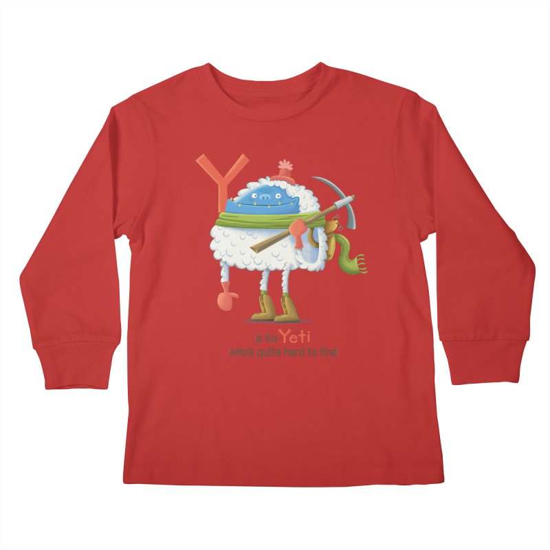Y is for Yeti Kids Longsleeve T-Shirt by Hazy Dell Press
