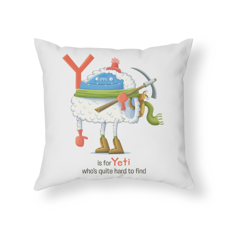 Y is for Yeti Home Throw Pillow by Hazy Dell Press