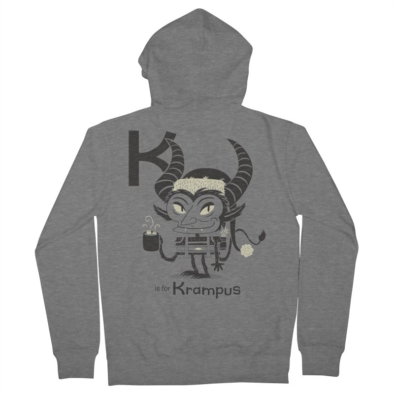 K is for Krampus Women's French Terry Zip-Up Hoody by Hazy Dell Press