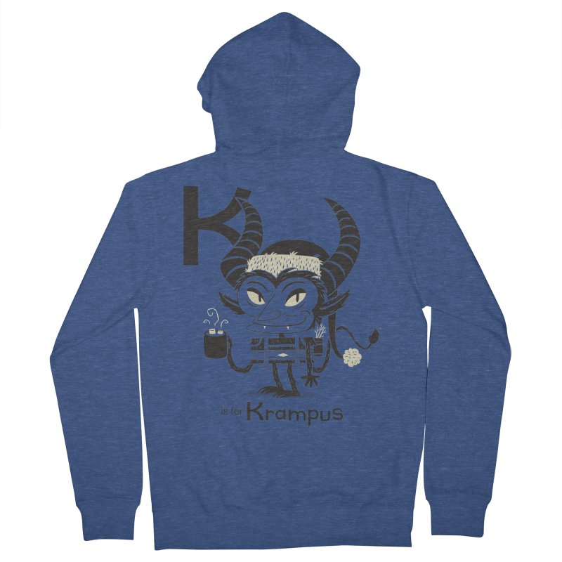 K is for Krampus Men's French Terry Zip-Up Hoody by Hazy Dell Press