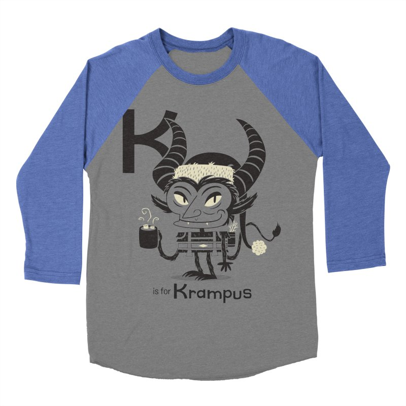 K is for Krampus Women's Baseball Triblend T-Shirt by Hazy Dell Press