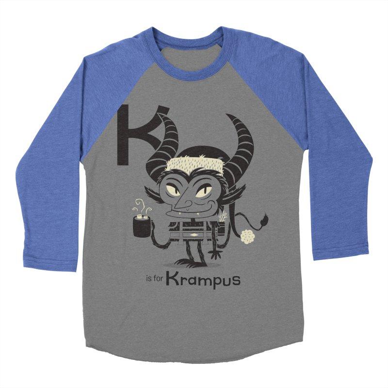 K is for Krampus Women's Baseball Triblend Longsleeve T-Shirt by Hazy Dell Press