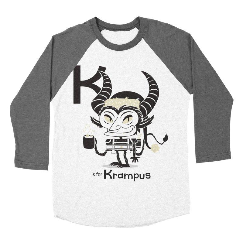 K is for Krampus Men's Baseball Triblend Longsleeve T-Shirt by Hazy Dell Press