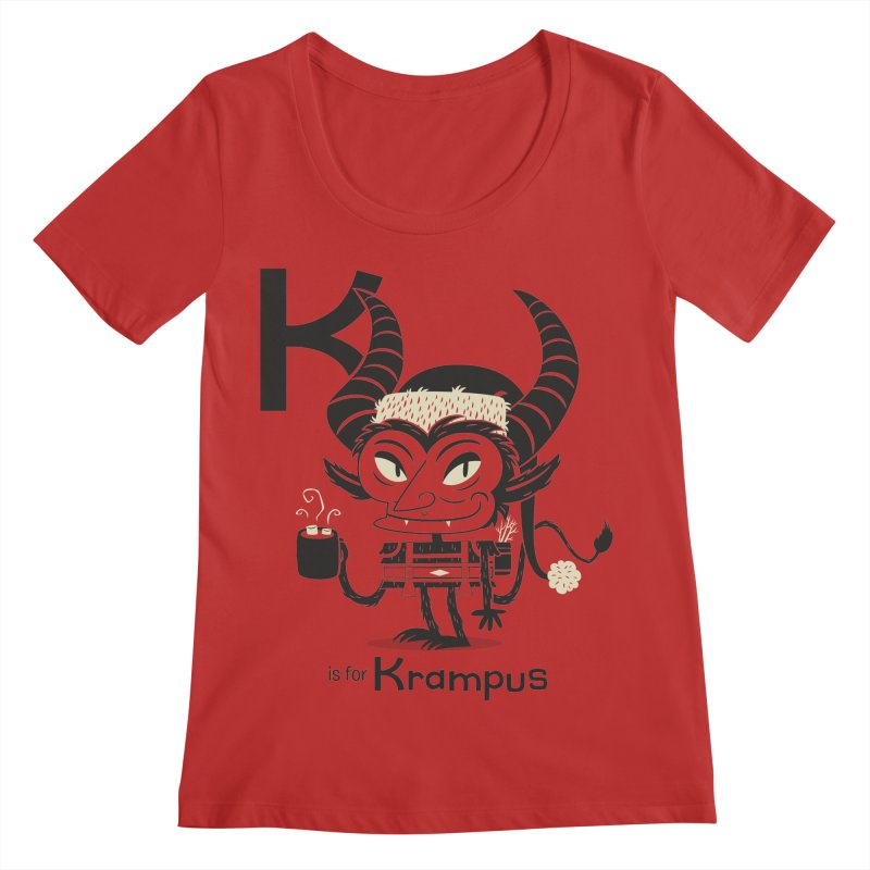 K is for Krampus Women's Regular Scoop Neck by Hazy Dell Press