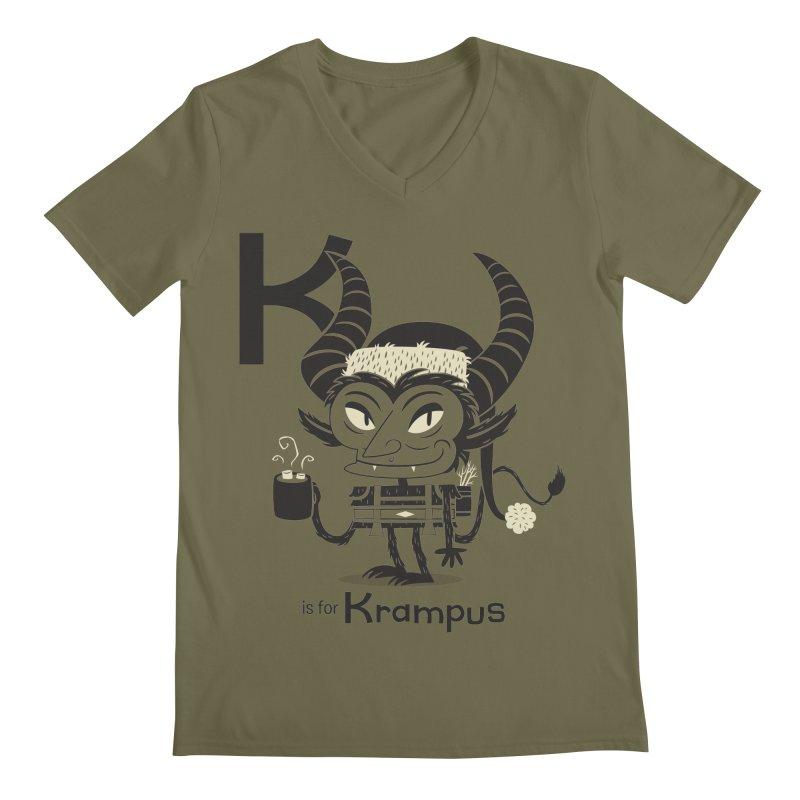 K is for Krampus Men's Regular V-Neck by Hazy Dell Press