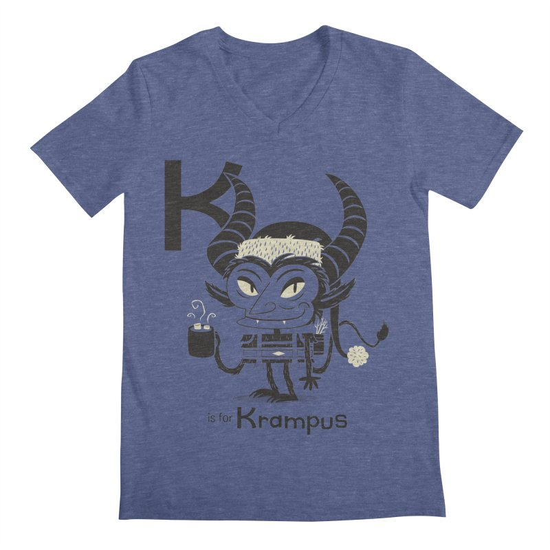 K is for Krampus Men's V-Neck by Hazy Dell Press