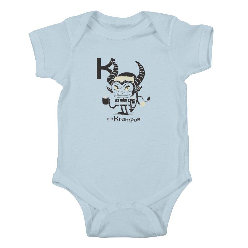 K is for Krampus Kids Baby Bodysuit by Hazy Dell Press