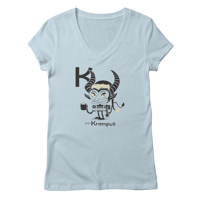 K is for Krampus Women's V-Neck by Hazy Dell Press