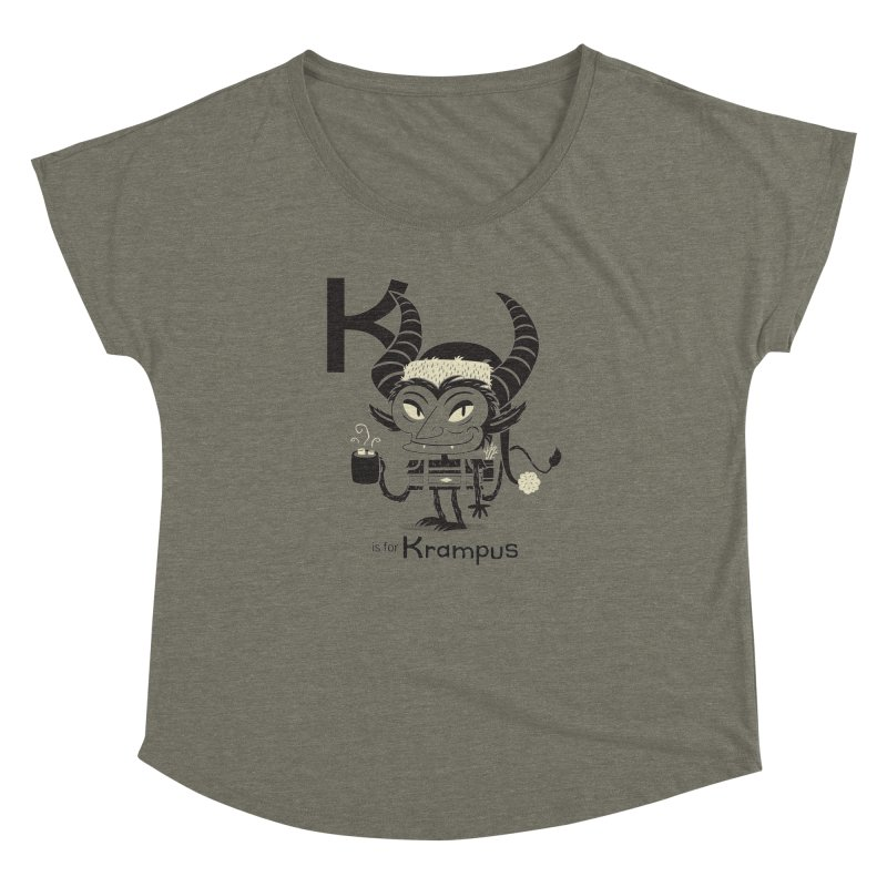 K is for Krampus Women's Dolman Scoop Neck by Hazy Dell Press
