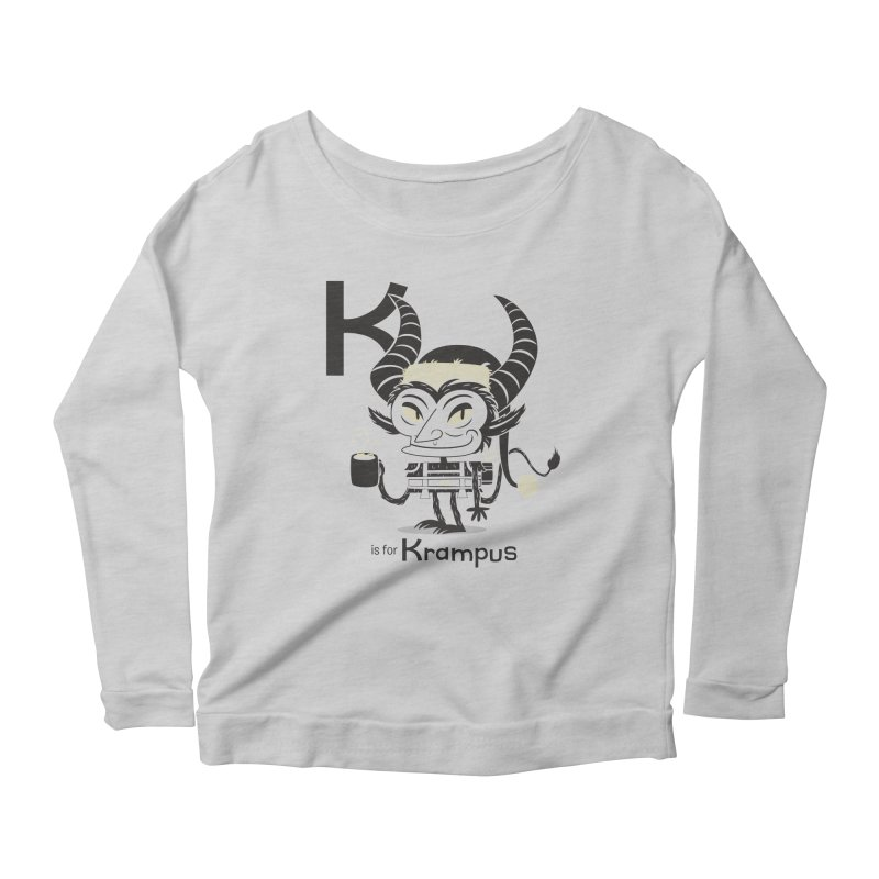 K is for Krampus Women's Scoop Neck Longsleeve T-Shirt by Hazy Dell Press