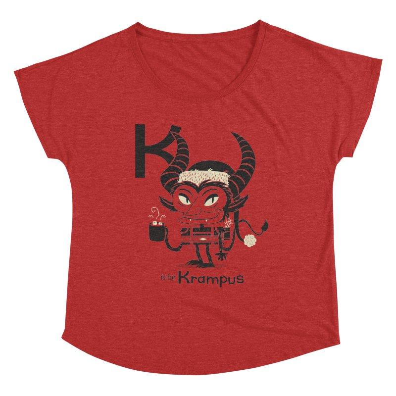 K is for Krampus Women's Dolman Scoop Neck by Hazy Dell Press