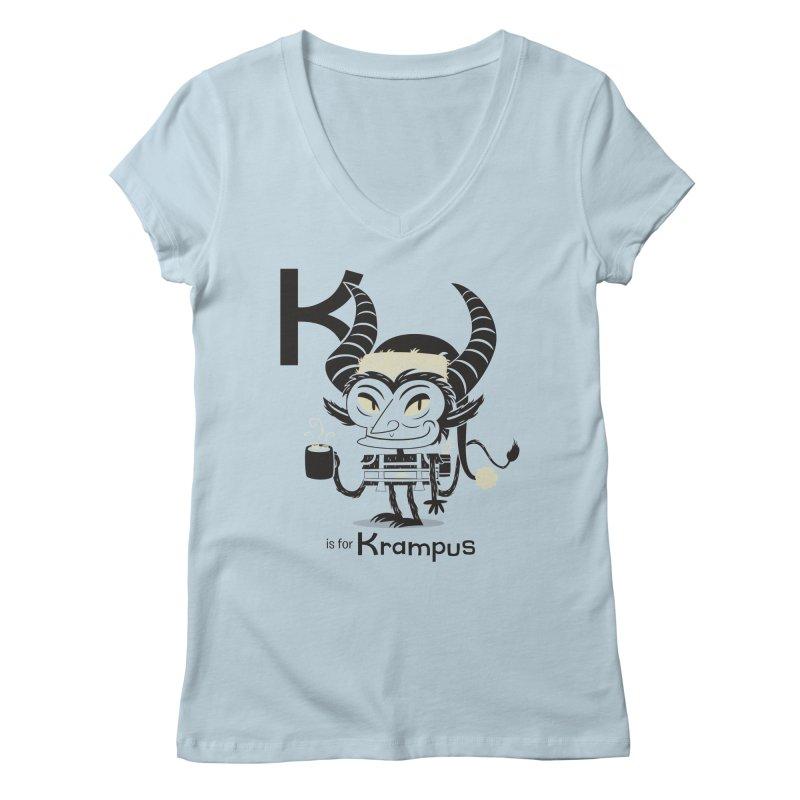 K is for Krampus Women's Regular V-Neck by Hazy Dell Press