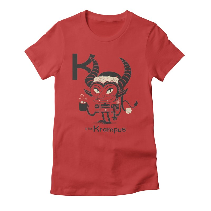 K is for Krampus Women's Fitted T-Shirt by Hazy Dell Press