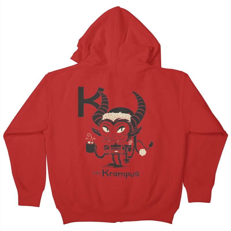 K is for Krampus Kids Zip-Up Hoody by Hazy Dell Press
